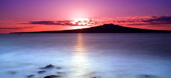 Salida del sol rosa, Isla Rangitoto