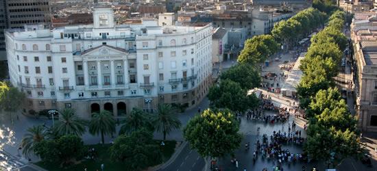Vista aérea de Las Ramblas, Barcelona