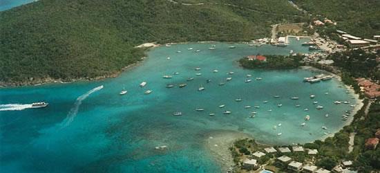 Vista aérea de St Thomas, Islas Vírgenes de EUA