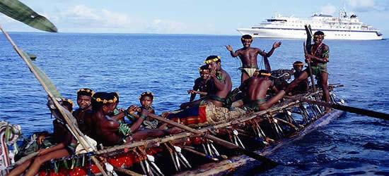 Nativos entusiastas en las Islas Trobriand