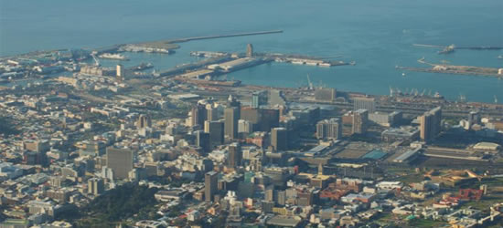 Vista desde las alturas de Ciudad del Cabo