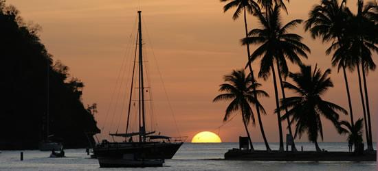 Puesta de sol Marigot Bay, Santa Lucía