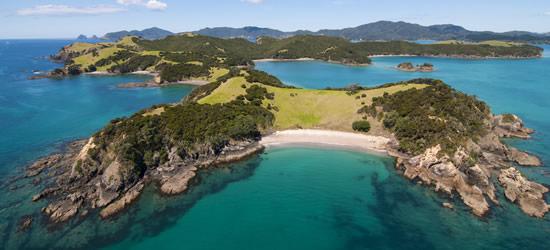 Vista aérea de la isla de Urapukapuka, Nueva Zelanda