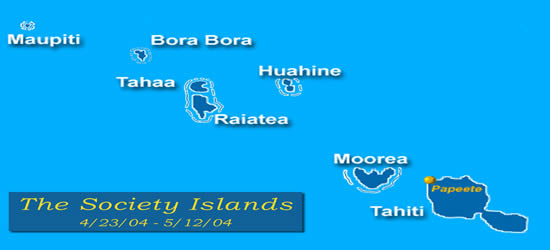 Mapa de las Islas de la Sociedad
