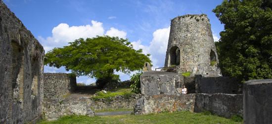 Las ruinas de un molino de azúcar, de los Estados Unidos Islas Vírgenes