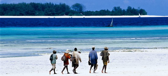 Pescadores caminando en la playa
