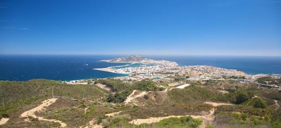 Vista elevada de Ceuta, Norte de África