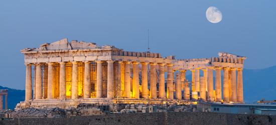 Parthenon, Colina de la Acrópolis bajo el claro de luna